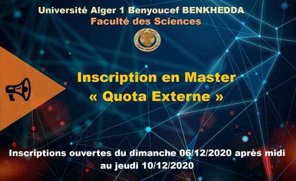 Inscription en Master « Quota Externe » du 06/12/2020 au 10/12/2020